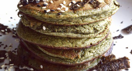 Sesame Matcha Pancakes